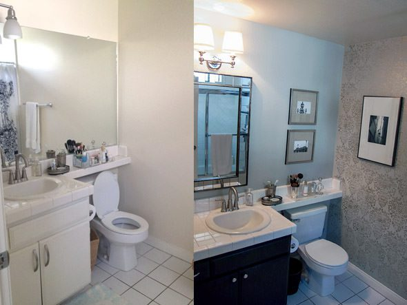 A before + after of an ugly apartment bathroom makeover on a budget.