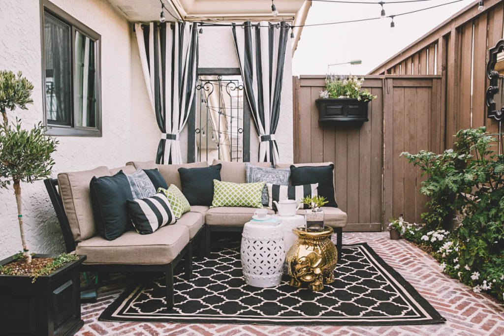 A patio remodel using Decorist, an online interior design service. All decor by Lowes Home Improvement.