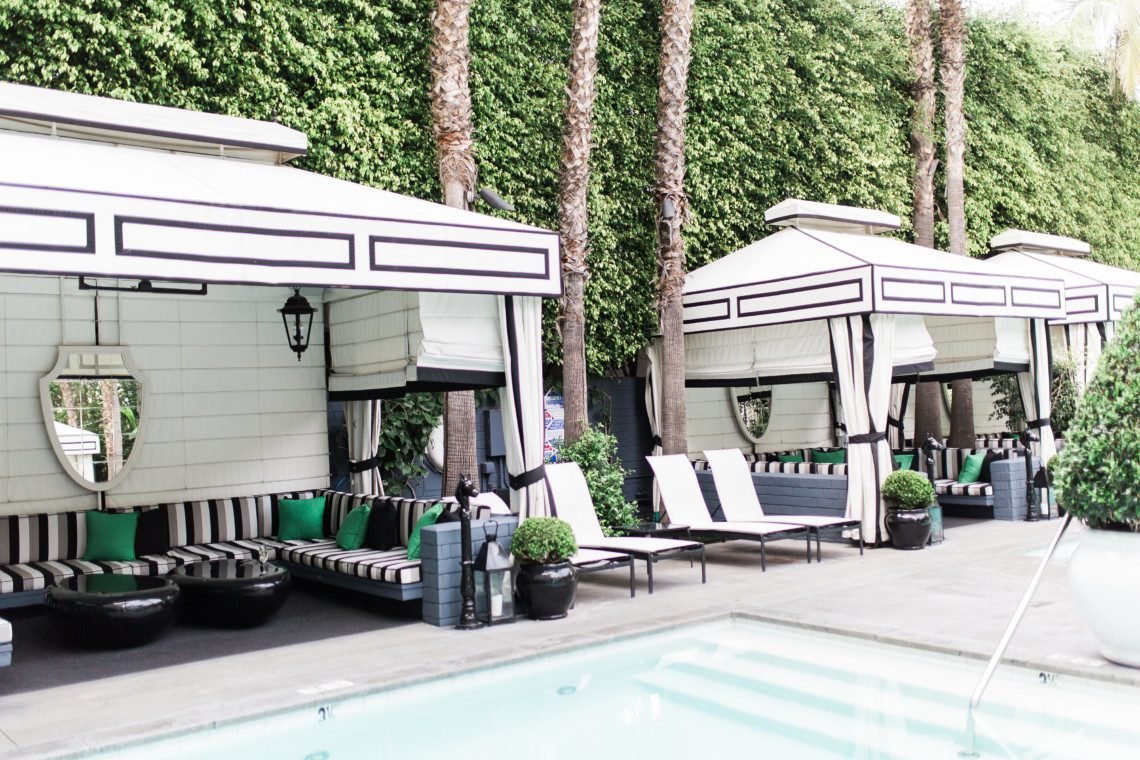 Poolside at the Viceroy Hotel in Santa Monica, a luxury boutique hotel by the ocean.