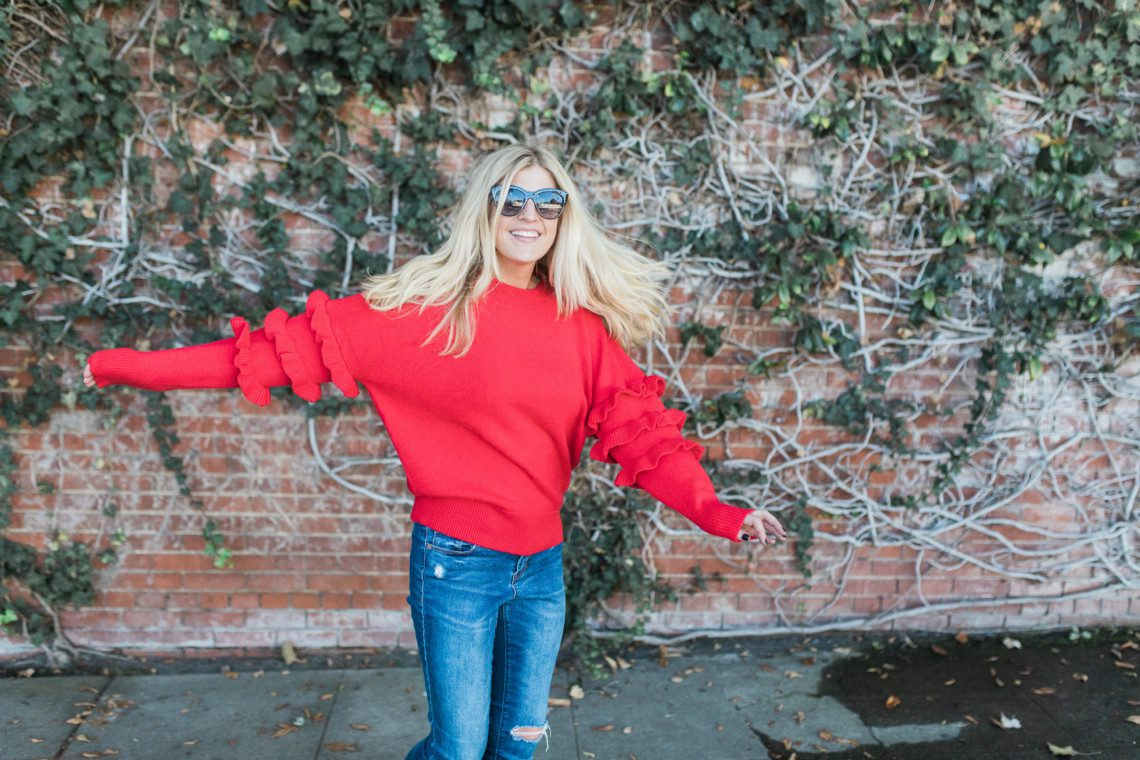 This red, ruffle sweater from Anthropologie is a must-have for fall 2017.