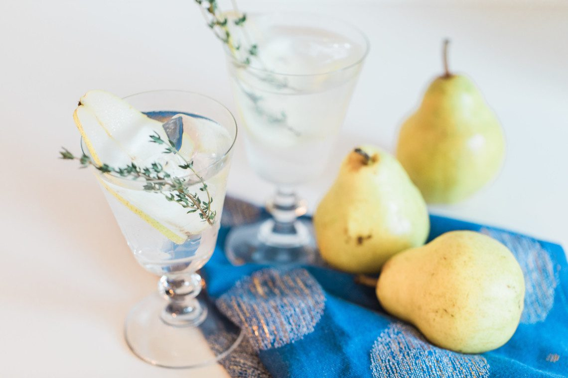 A recipe for a pear cocktail with thyme using St. George Pear Brandy
