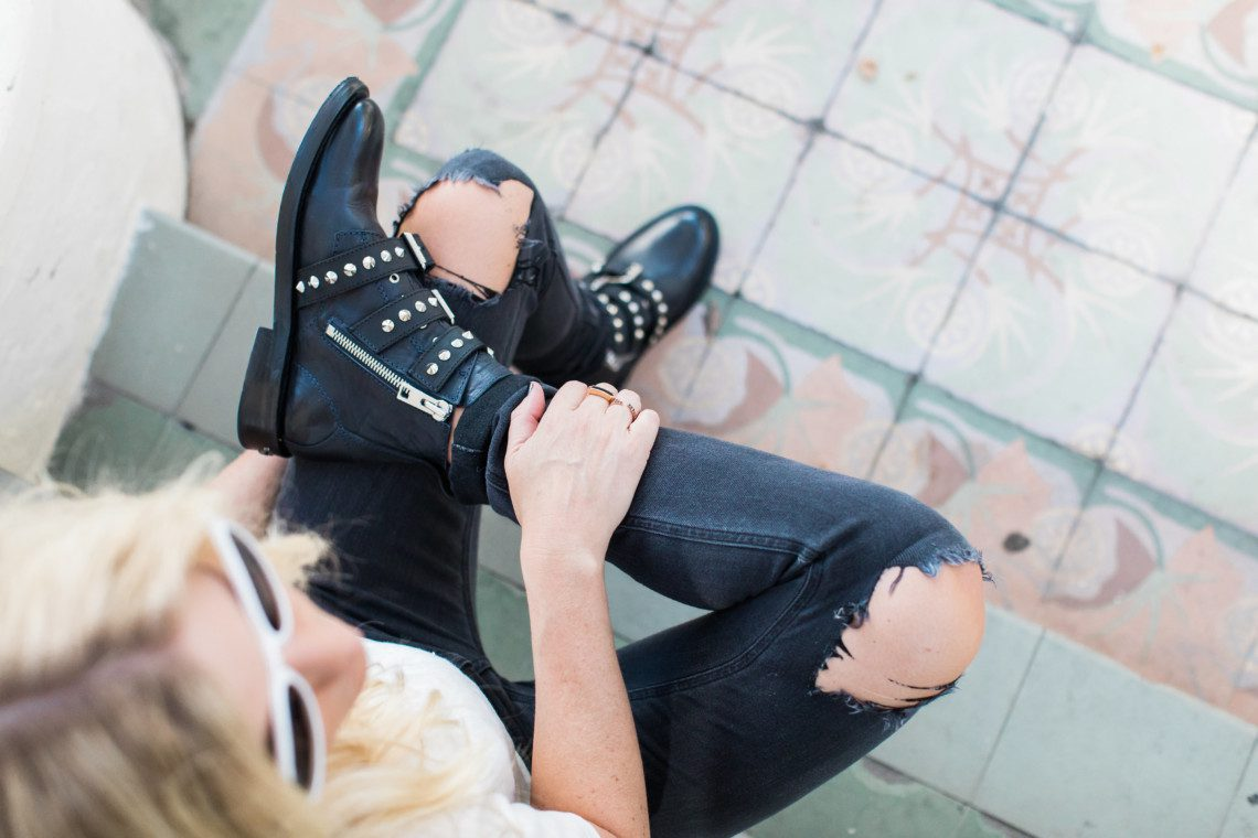 A roundup of moto boots in all price points like these Laureen Spike Boots from Zadig and Voltaire and a look for less by Topshop.